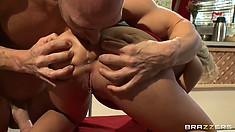 Foxy blonde titty fucks, sucks and bends over for big dick drilling