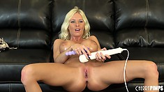 With a dildo in her peach and a vibrator on her clit, Riley enjoys pure pleasure