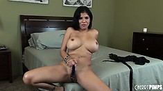 She rubs her clit and sticks that dildo deep in her peach, enjoying great pleasure