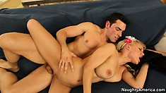 Busty blonde Lou Lou rides his hard wiener and then gets spooned