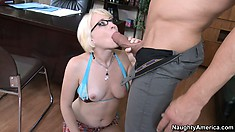 Hot blonde with perky tits Nora Skyy gets on her knees and sucks a big dick