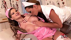 Lesbian nurses take some time off to relax and fuck like whores