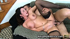 Brunette MILF Ariella Ferrera gets fingered and fucked on the couch