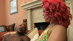 Fat ass ebony, in her bikini, gets her hairless pussy licked