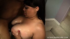 He drills Twilight Starr's pussy from behind before she wildly rides his black prick