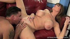 Huge tit cougar Queen Darla gets her prey to trade oral, fuck her and give her a load to eat
