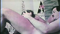Vintage gay action as a crooked cop gives a civilian blowjob in living color