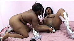 Tiffany Stacks backs her black ass up to Marshae and shares a double dildo