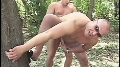 Straight guy gets his ass jammed by a massive gay dick in the woods