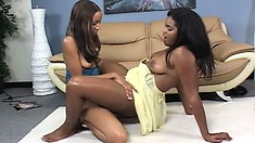 Ebony babes Annabelle and America enjoy the pleasure those sex toys have to offer