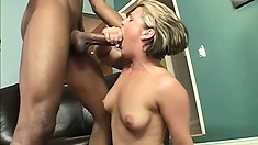 Dirty blonde babe gets her MILFy ass rocked by a big ebony dong