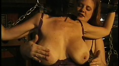 Curvy black MILF gets her tits tied up and played with by her lesbian mistress