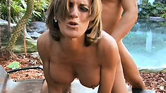 Hot mom with big titties is outside getting her love hole hammered