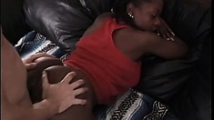 Horny black amateur in an interracial scene gets a white cock pounding her holes