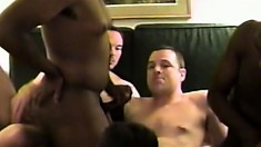 A pack of horny gay studs can't wait to get into an orgy in the hotel
