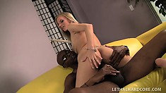 Blonde bombshell spreads her legs to let in a massive black piston