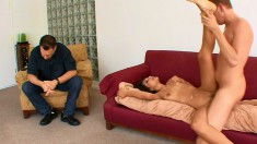 Dazzling Latina wife fucks a stranger on the couch and her man watches
